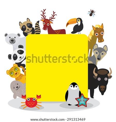 cute cartoon animals set toucan