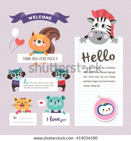 cute cartoon animals with text