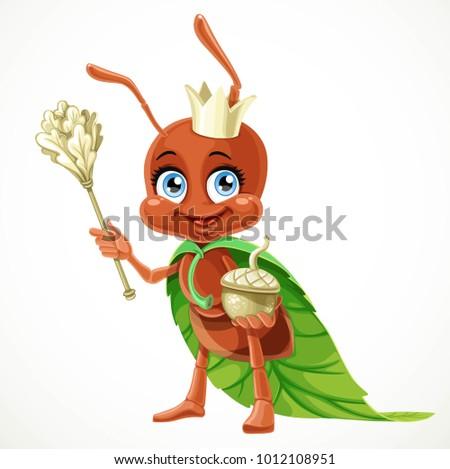 cute cartoon ant queen in a