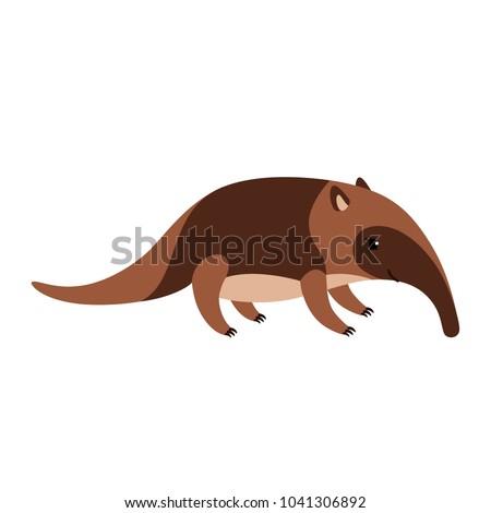 cute cartoon anteater isolated