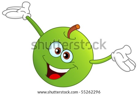 Cute cartoon apple raising his hands