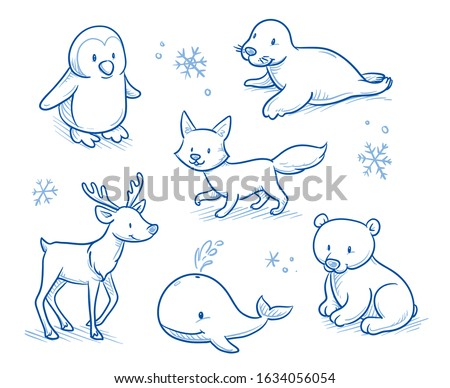 Cute cartoon arctic animals for children as penguin, seal, reindeer, snow fox, ice bear and whale. Hand drawn doodle vector illustration.