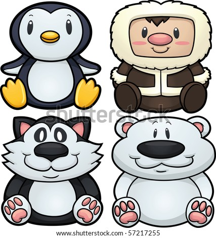 Cute cartoon arctic characters. Vector illustration with simple gradients. All elements in separate layers for easy editing.