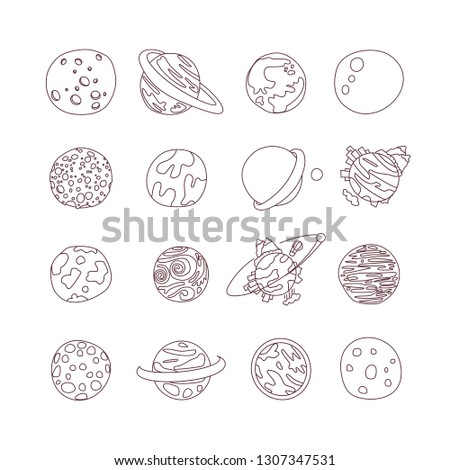 Cute cartoon astronomy planet icon set. Cartoon icons of different doodle planets, exo planets, planetary rings, satellites,