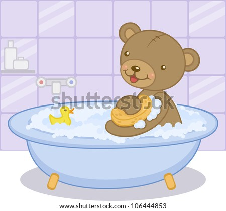 Cute cartoon baby bear having bath with yellow duck. Vector illustration