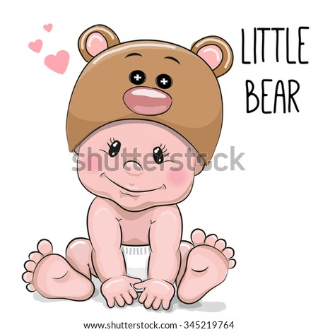 cute cartoon baby boy in a bear ...