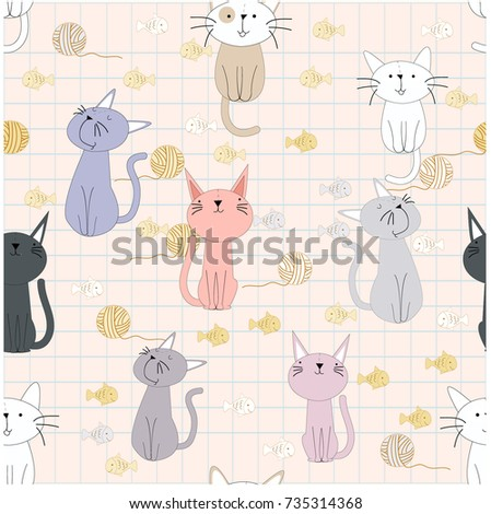 cute cartoon baby cat kitty