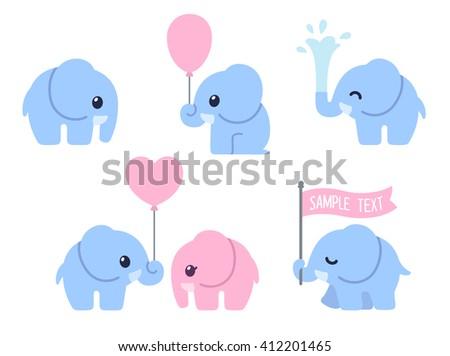 cute cartoon baby elephant set