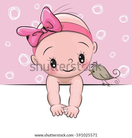 cute cartoon baby girl and a