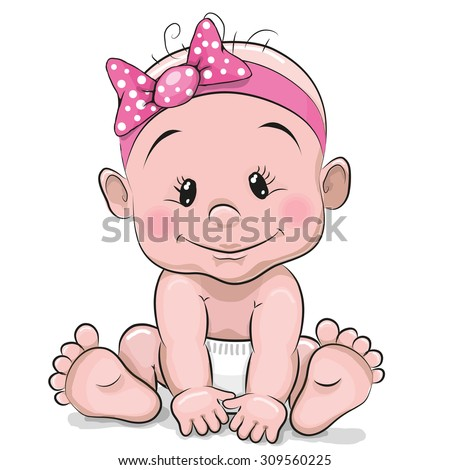 Cute cartoon baby girl isolated on a white background