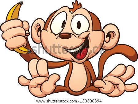 Cute cartoon baby monkey holding a banana. Vector clip art illustration with simple gradients. All in a single layer. - stock vector
