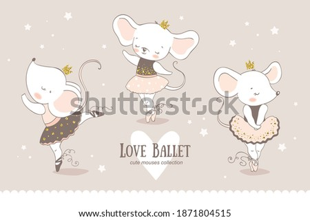 Cute cartoon baby mouse ballerina collection. Little mice princess dancing characters. Hand drawn doodle icons design vector illustration. Foto d'archivio ©