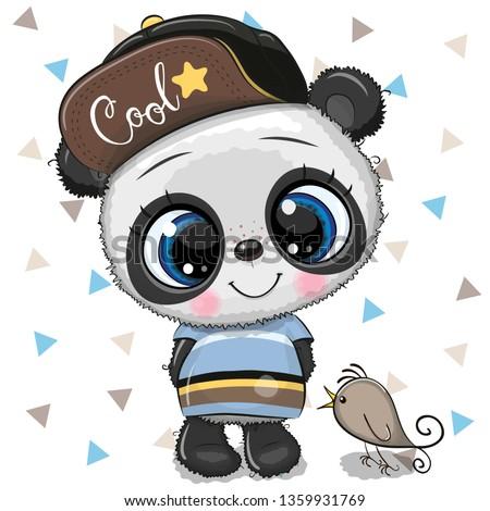 cute cartoon baby panda in a