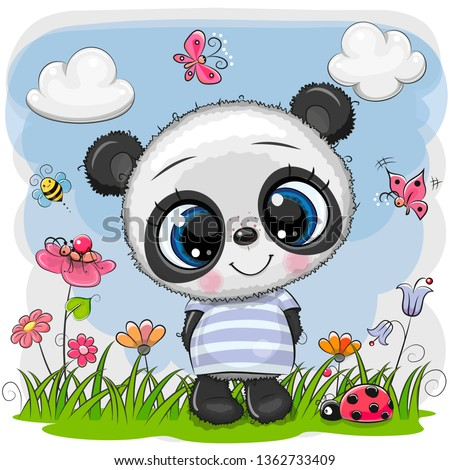 cute cartoon baby panda on a