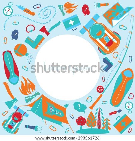 Cute cartoon background with flat icons of equipment for hiking, fishing, camping, outdoor and recreation activity. Modern vector symbols and icons. Travel and tourism poster with empty space for text