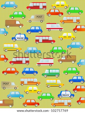 cute cartoon background with urban colorful transport