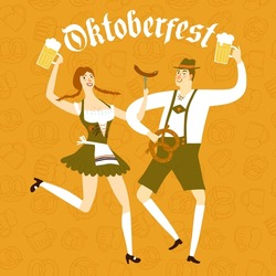 Cute cartoon Bavarian man and woman with beer, sausage and pretzel dancing together. Oktoberfest illustration for your design.