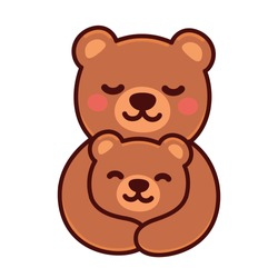 Cute cartoon bear mom hugging baby cub, sweet brown bears family drawing. Simple vector clip art illustration, kawaii mascot or logo.