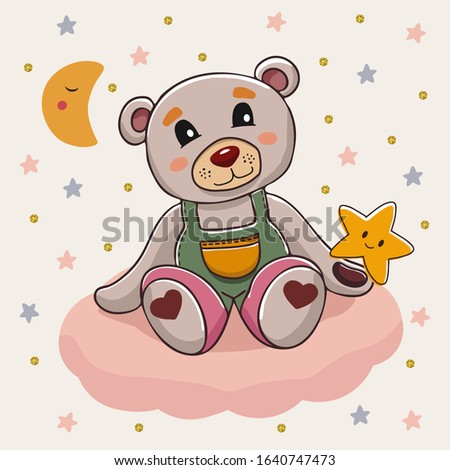 cute cartoon bear sitting on