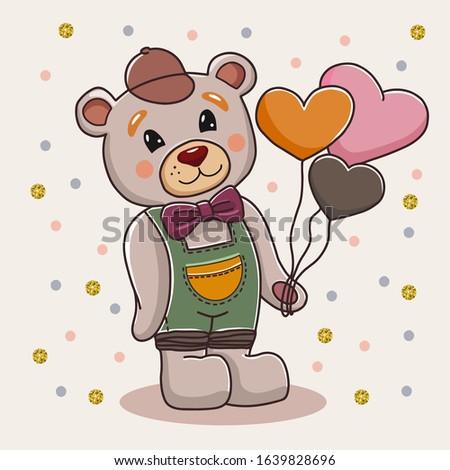 cute cartoon bear standing with
