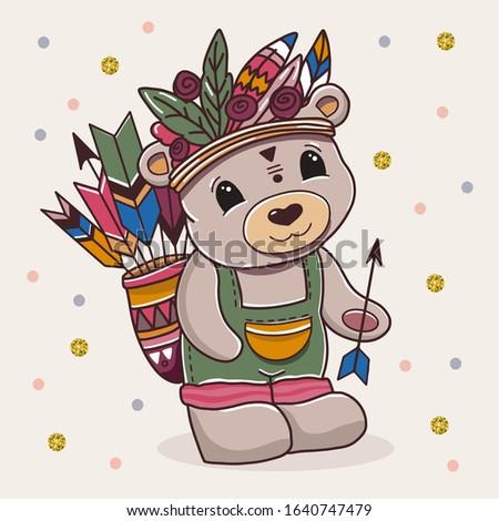 cute cartoon bear with arows