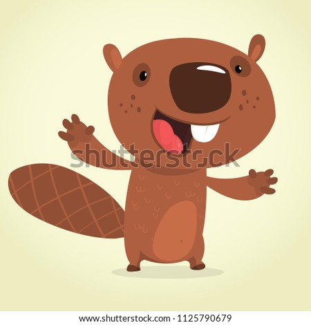 Cute cartoon beaver talking. Brown beaver character. Vector illustration clipart. Big set of forest animals
