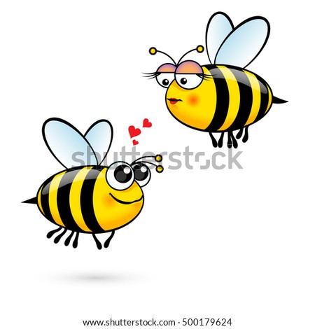 cute cartoon bees in love