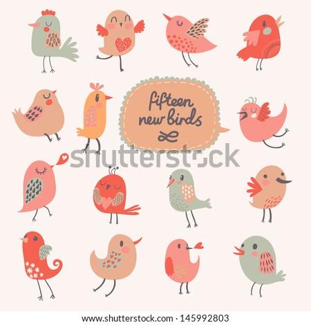 cute cartoon birds in vector