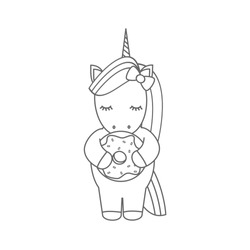 cute cartoon black and white vector illustration with unicorn eating donut