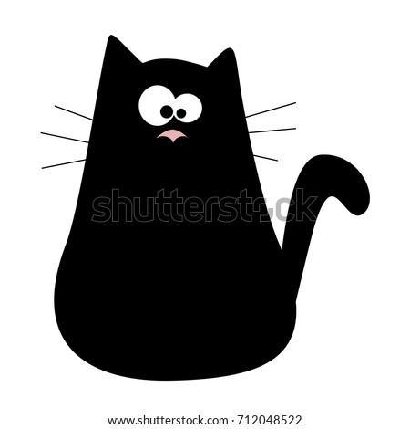 cute cartoon black cat logo