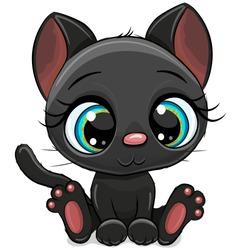Cute Cartoon black kitten on a white background