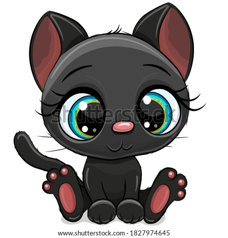 cute cartoon black kitten on a