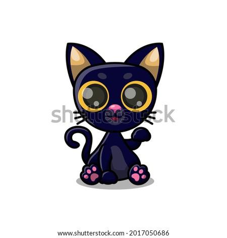 cute cartoon black kitten