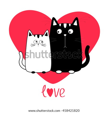 cute cartoon black white cat
