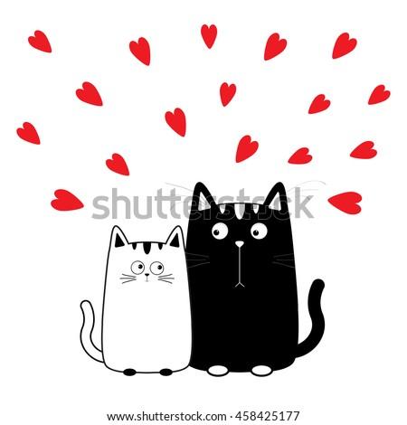 cute cartoon black white cat