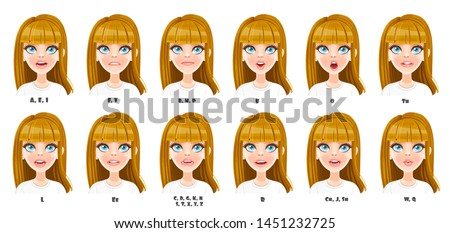 Cute cartoon blond girl talking mouth animation. Female character speak mouths expressions