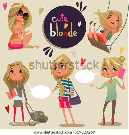 cute cartoon blonde girl