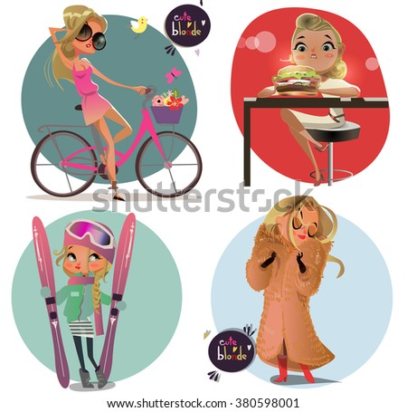 cute cartoon blonde girls