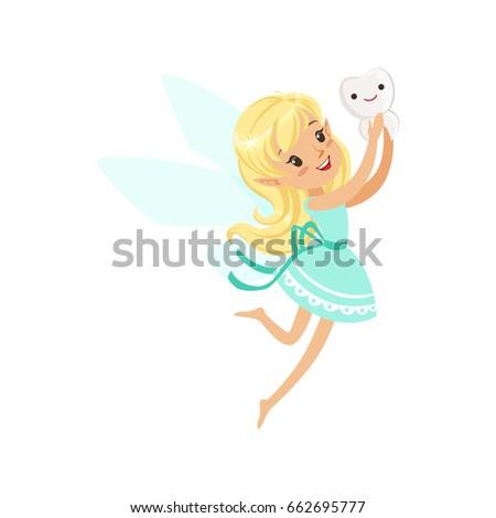 cute cartoon blonde tooth fairy