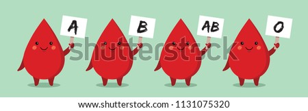 Cute cartoon blood drop holding paper. Blood type or blood group vector illstration.