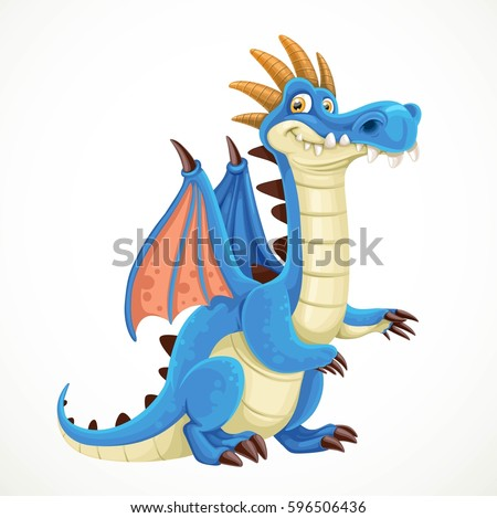 cute cartoon blue dragon