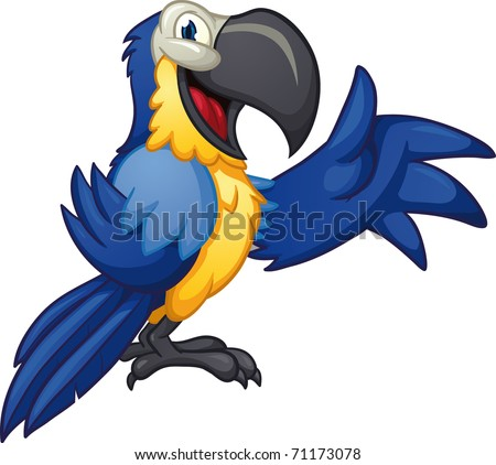 Cute cartoon blue macaw. Vector illustration with simple gradients.