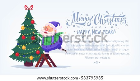 stock-vector-cute-cartoon-blue-suit-santa-claus-decorating-christmas-tree-merry-christmas-vector-illustration