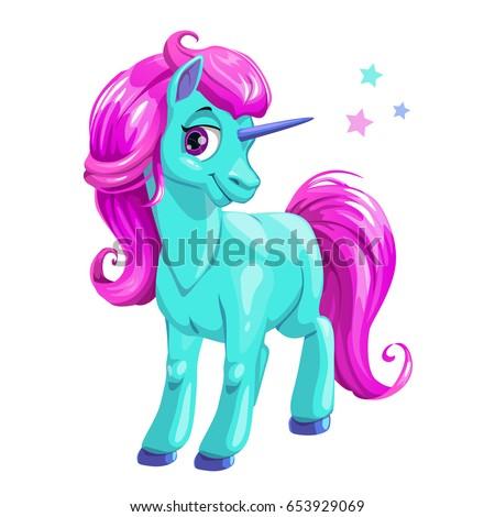cute cartoon blue unicorn with