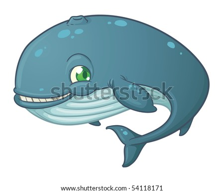 whale cartoon cute. stock vector : Cute cartoon