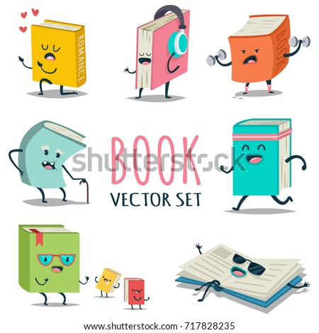 Cute cartoon book character with different emotions and in action. Vector flat icons set isolated on white background.
