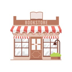 Cute cartoon Book store  facade detailed vector illustration.  Book shop Isolated on white background. Building exterior