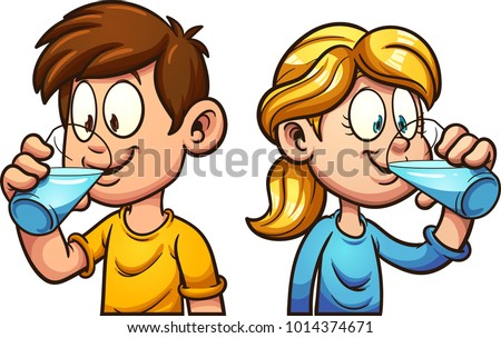 Cute cartoon boy and girl drinking water. Vector clip art illustration with simple gradients. Each on a separate layer.