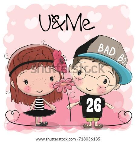 cute cartoon boy and girl on a
