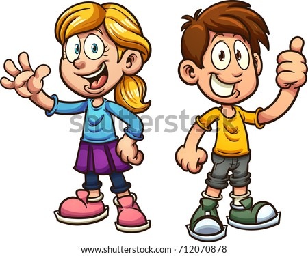 Cute cartoon boy and girl. Vector clip art illustration with simple gradients. Each on a separate layer.  #712070878